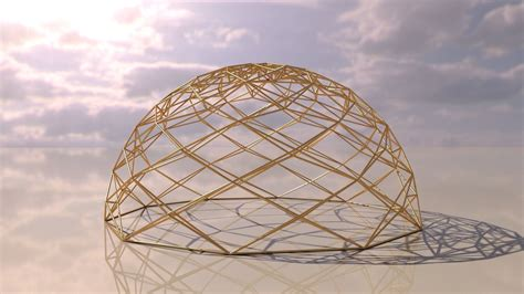 Geodesic Dome like design wire-frame structure 3D model