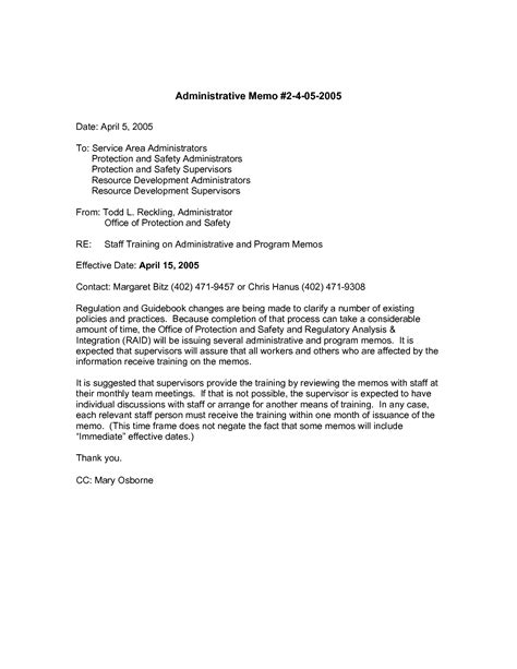 Staff Meeting Memo Template by Sle Letter Of Mandatory 9 Best Images Of