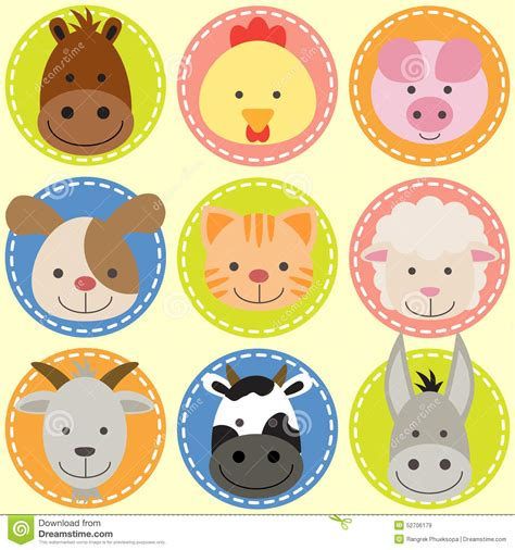 of animal faces stock vector illustration of 52706179