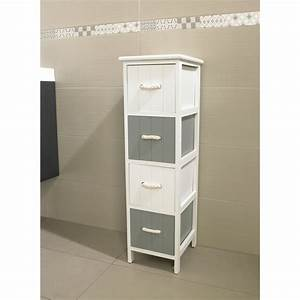 Meuble Rangement Salle De Bain But : meuble jersey 4 tiroirs blanc gris meuble de salle de ~ Dallasstarsshop.com Idées de Décoration