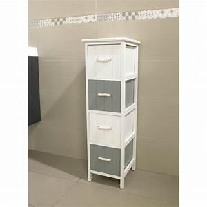 meuble jersey 4 tiroirs blanc gris meuble de salle de With meuble 4 tiroir