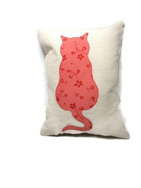 Small Decorative Pillows by Cat Applique Small Decorative Pillow Cotton Canvas