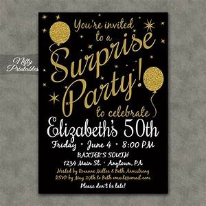 Surprise Party Invitations Printable Black Gold