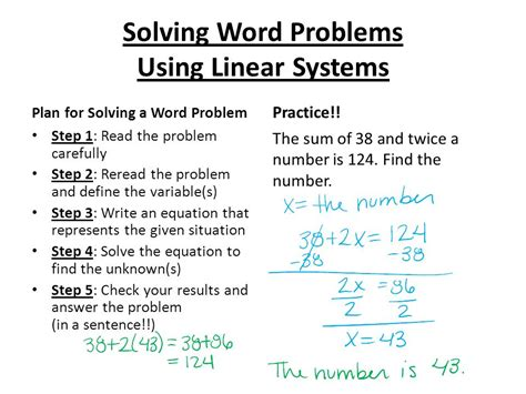 solving word problems  linear systems  video