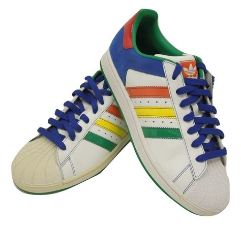 multi colored adidas adidas superstar ii cb mens casual shoes white multi color