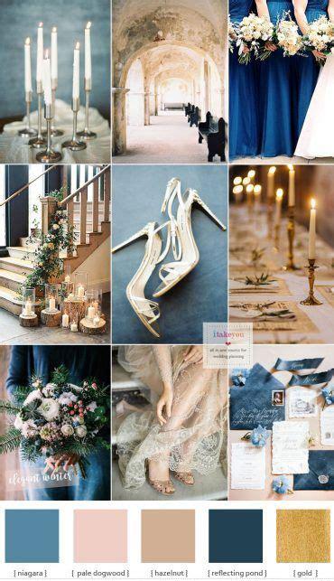 blue and gold wedding theme for elegant winter wedding