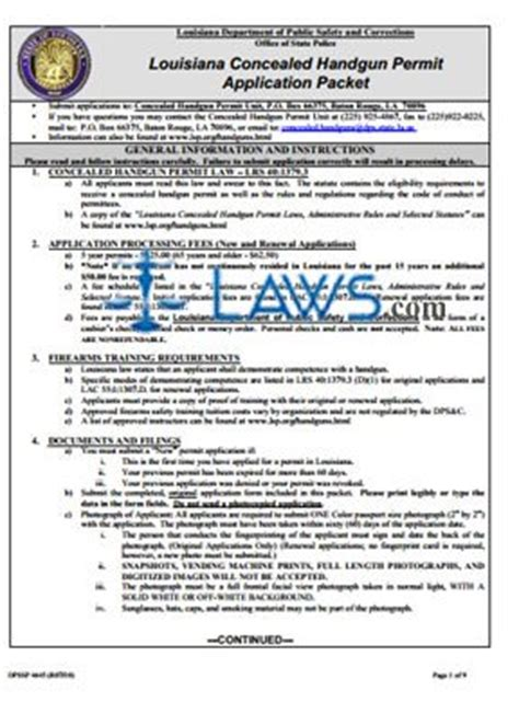 form concealed handgun permit application packet
