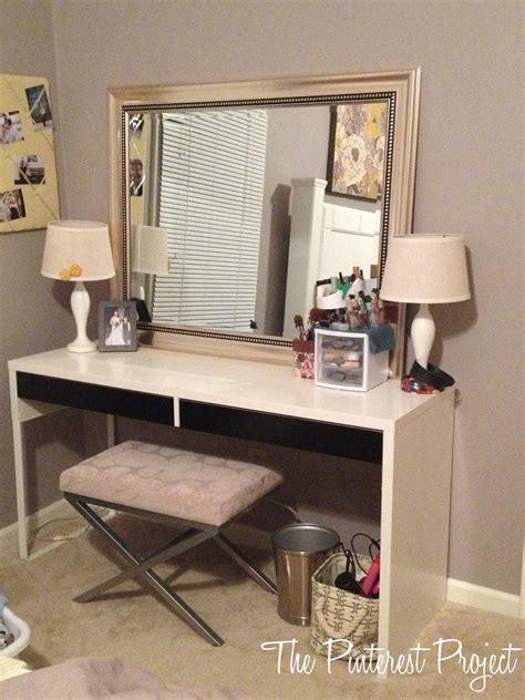 vanity desk ikea ikea desk into vanity the project
