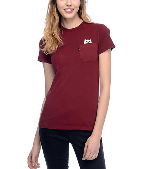 burgundy t shirt s ripndip lord nermal burgundy pocket t shirt zumiez