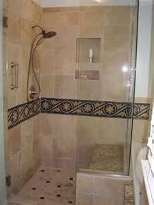 bathroom borders ideas master bathroom shower with 12 quot x12 quot tiles and mosaic border also with a granite seat for the