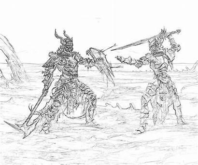 Skyrim Warriors Elder Scrolls Sketch Coloring Pages
