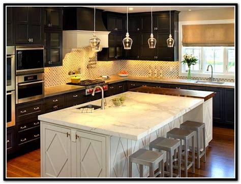 espresso kitchen cabinets white countertop small house