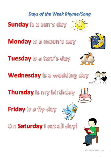 days   week rhymesong worksheet  esl printable