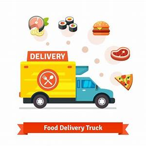 Restaurant food delivery truck with meal icons Vector ...