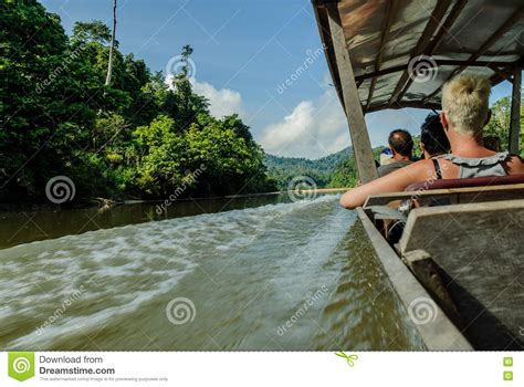 Boat Engine Malaysia engine boat in the river sungai tembeling inside the