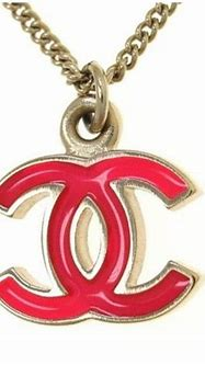 Pre-owned Chanel Gold Plated Red CC Logo Pendant Necklace ...