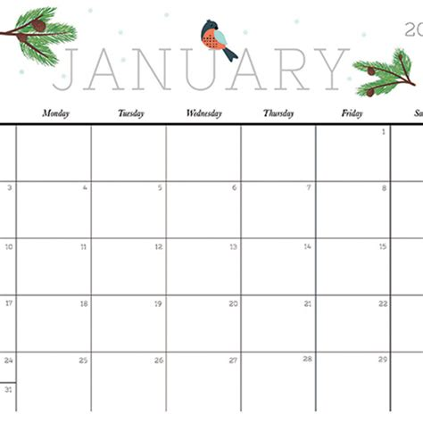 cute  crafty  printable calendar