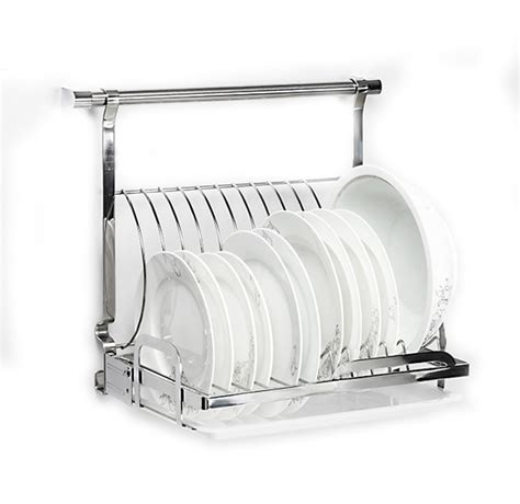 stainless steel foladable kitchen plates dishes rack wall mounted kitchen shelf  space