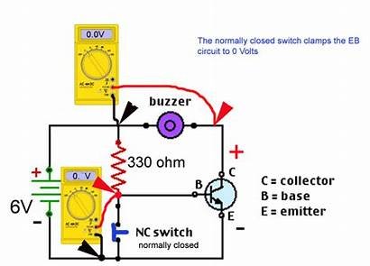 Transistor Circuit Switching Closed Normally Buzzer Button