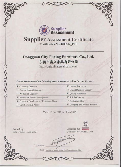 bureau veritas ltd bureau veritas dongguan city fuxing furniture co ltd