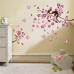 Muursticker roze bloesemtak met aapje en 3D vlinders