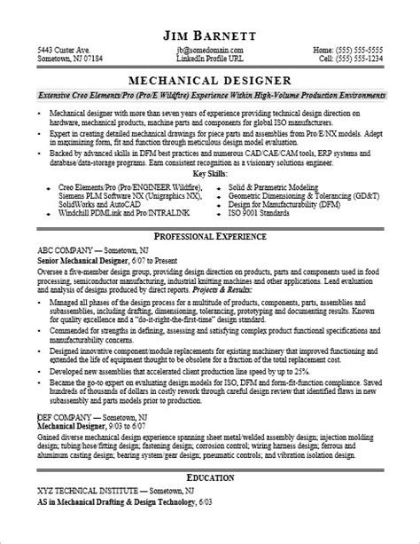 Mechanical Design Resume Exles by Sle Resume For An Experienced Mechanical Designer