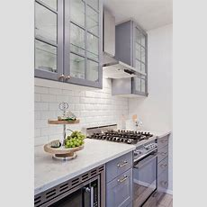 Gray Ikea Kitchen Cabinets With White Beveled Subway Tile