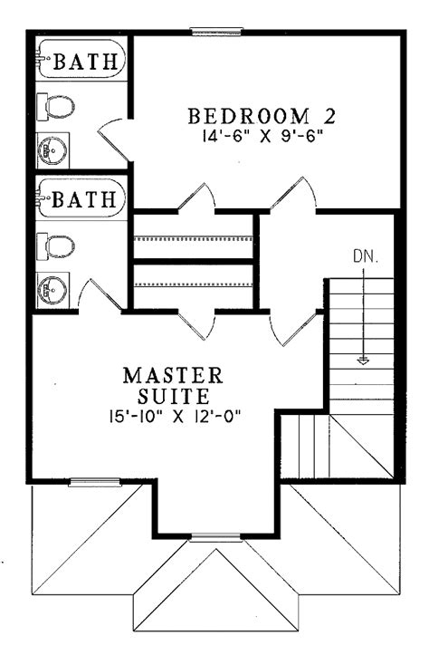 Traditional Style House Plan 2 Beds 2 5 Baths 980 Sq/Ft