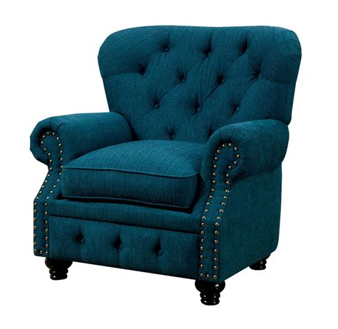 furniture of america stanford teal fabric chair foa