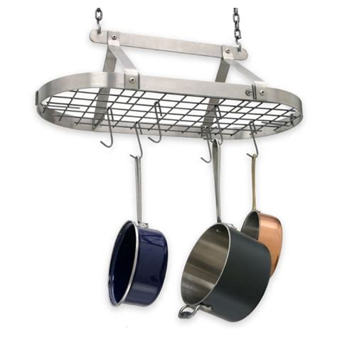 enclume decor classic stainless steel hanging pot rack  kitchen dining stools