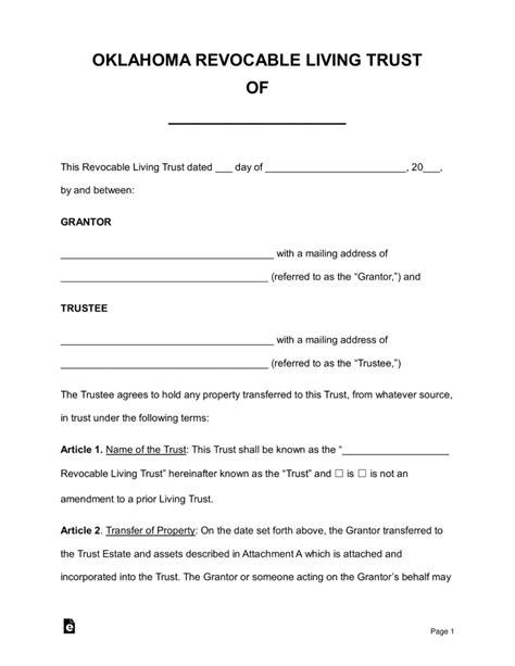 living trust forms oklahoma free oklahoma revocable living trust form word pdf