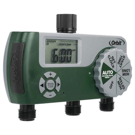 orbit hose faucet timer orbit 3 port digital hose tap timer 56082 the home depot