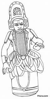 Kathakali Coloring Pages Dancer Dancing Styles Pitara Folk Craft sketch template