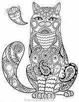 Coloring Cat Paisley Pages Adult sketch template