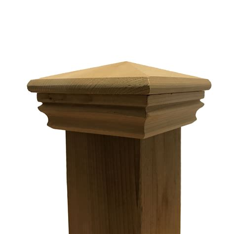 fence post toppers cedar pyramid wood post cap for 3 5 quot x 3 5 quot fence and deck 3725