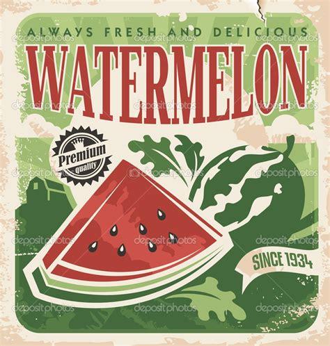 vintage cuisine vintage poster template for watermelon farm stock vector
