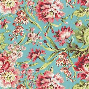 Coral and Teal Floral Fabric by the Yard | Coral Fabric ...