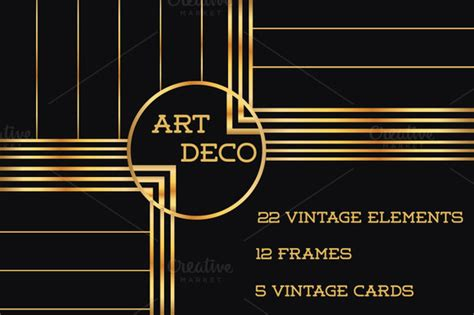 37 deco design elements vol 1 illustrations on creative market