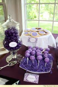 Purple Bridal Shower Dessert Table Ideas