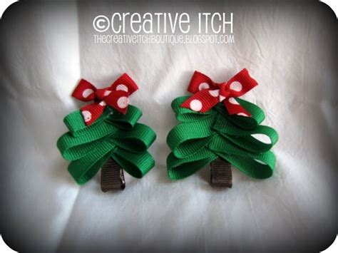 creative itch christmas tree hair bows