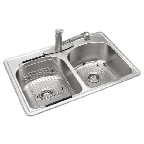 glacier bay all in one kitchen sink glacier bay all in one drop in stainless steel 33 in 3 9224