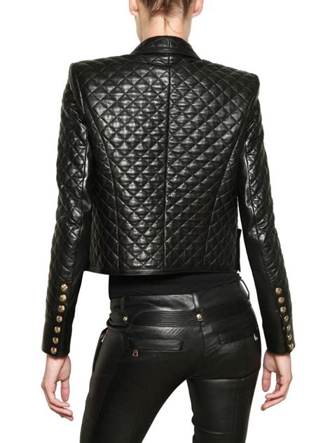 Balmain Quilted Nappa Leather Jacket in Black | Lyst