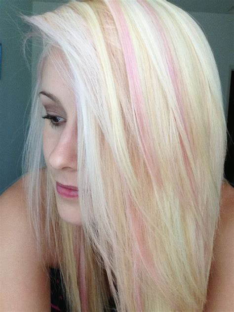 Light Pink Highlights On Bleach Blonde Hair This Is