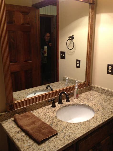 Bathroom Mirror Remodel by Completed Bathroom Remodel New Vanity And Granite