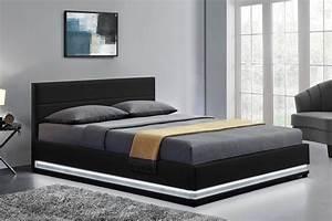 Cadre Lit 140x190 : cadre de lit led avec coffre new york noir 140x190 cm ~ Dallasstarsshop.com Idées de Décoration