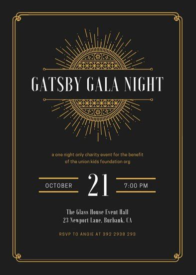 white  gold elegant great gatsby invitation templates