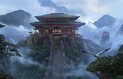 Temple Japanese Concept Wallpapers Fantasy Background Alex