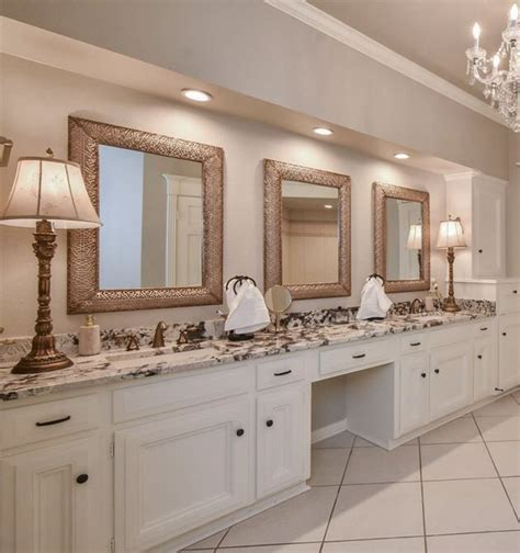 The base contains a recess for jewelry and the almost ornate design on the stand is sure to liven up any vanity. Three mirrors across with recessed lighting. | Home ...
