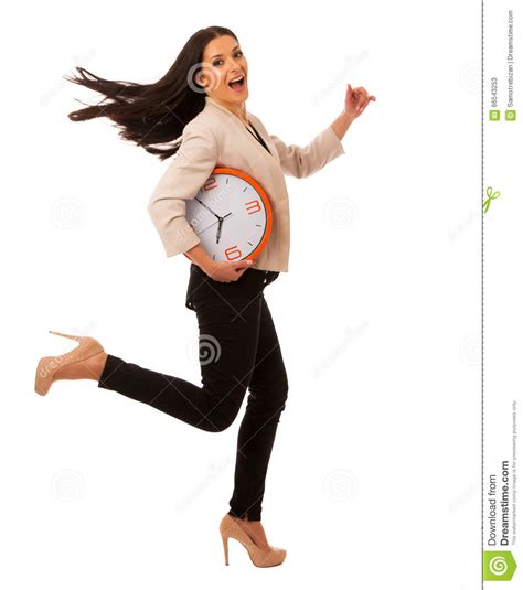 Stressed Woman With Big Clock Rushing Because Of Being Late. Stock Photo - Image: 66543253