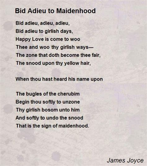 I Bid Thee Adieu Bid Adieu To Maidenhood Poem By Joyce Poem